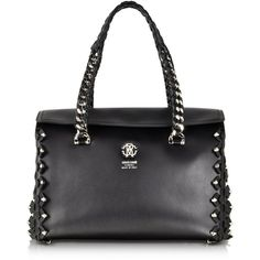Roberto Cavalli Handbags Small Black Leather Satchel w/Metal Detail ($1,190) ❤ liked on Polyvore featuring bags, handbags, studded leather handbag, genuine leather handbags, studded leather purse, handbag satchel and genuine leather purse