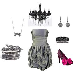platinum, created by meliwoz on Polyvore!!!  isnt she talented :-D  Love the splash of pink ;)