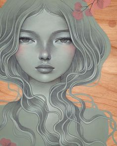 """She Will"" (close up) Audrey Kawasaki Fashion Illustration Vintage, Digital Illustration, Audrey Kawasaki Tattoo, Dani Olivier, Art Nouveau, Spirited Art, Pop Surrealism, Art For Art Sake, Smile Face"