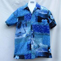 Hawaiian Aloha Shirt Size 8 Blue Island Hibiscus Floral Arizona Jeans Co. #ArizonaJean #Everyday