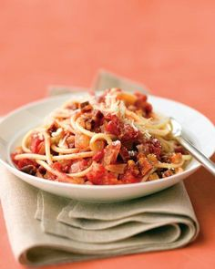 Bucatini with Pancetta, Tomatoes, and Onion Recipe