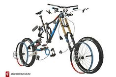 MTB Exploded View (should give you an idea of what the individual components look like. New Bicycle, Bicycle Parts, Mtb, Exploded View, Bike Components, Bike Brands, Bicycle Maintenance, Cool Bike Accessories, Bike Design