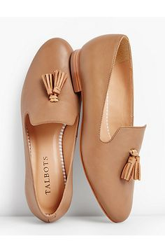 Talbots: Frannie Burnished Tassel Flats Leather - Loafers, Flats and tennis. Shoe Boots, Shoes Sandals, Ankle Boots, Shoe Bag, Flat Sandals, Cute Shoes Flats, Flat Shoes Outfit, Shoes Sneakers, Yeezy Shoes