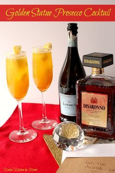 This Golden Statue Prosecco Cocktail is all dressed up and ready to party out on the red carpet. Disaronno Cocktails, Cocktail Drinks, Cocktail Recipes, Flautas, Alcohol Drink Recipes, Non Alcoholic Drinks, Beverages, Holiday Cocktails, Statues
