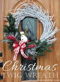 Christmas twig wreath tutorial
