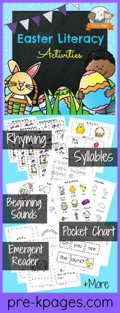 Printable Easter Literacy Activities {bunnies, chicks, ducks etc} for #preschool and #kindergarten