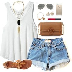 #summer #outfits / White Tank Top + Denim Shorts