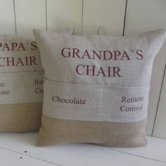 Personalised 'Grandad's Chair' Pocket Cushion - gifts for grandparents Book Pillow, Reading Pillow, Pillow Talk, Fabric Crafts, Sewing Crafts, Sewing Projects, Sewing Ideas, Pillow Embroidery, Machine Embroidery Projects