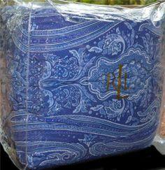 RALPH LAUREN Putney Paisley Blue Reversing To A Stripe KING COMFORTER NEW 1ST #RalphLauren