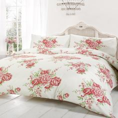 vintage floral bedding poly cotton duvet cover bed quilt cover set pink rose cream red fuchsia green king size duvet cover kingsize by just cu2026