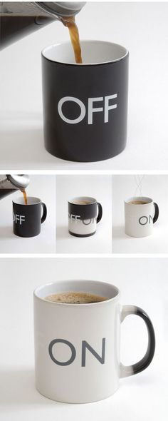 On Off Mug! This is so awesome! I love coffee mugs with cute sayings! I Love Coffee, Coffee Break, Coffee Shop, Coffee Mugs, Morning Coffee, Drink Coffee, Coffee Mornings, Coffee Maker, Hot Coffee