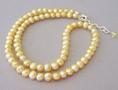 Butter yellow pearl necklace yellow freshwater pearl by Mindielee, $35.00
