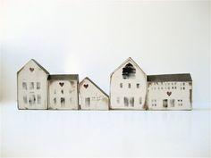 Vintage Wooden House Blocks