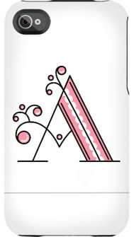 iPhone Cover 'A' by Jessica Hirsche $39.95  Available with all letters from A to Z in different fonts - lovely!
