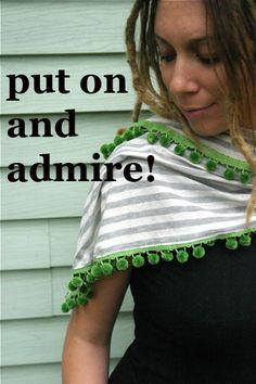 Enjoy! No Knit Scarves for Fall - Emily Falconbridge - Pom Pom Trimmed Scarf - TodaysMama.com