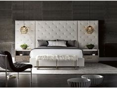 Pure bliss with Modern Brando Upholstered Bedroom Set by Universal Furniture! Gorgeous set with OFF! Modern Master Bedroom, Master Bedroom Design, Modern Luxury Bedroom, Modern Bedding, Minimalist Bedroom, Luxury Bedding, Modern Bedroom Lighting, Sophisticated Bedroom, Bedroom Neutral