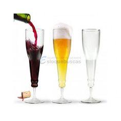 Copa de cristal en forma de botella al reves (transparente)        Un diseño muy original para tu casa.    Copa con un diseño muy original en forma de botella al reves hecha en cristal transparente.    Ideal para beber vino, champagne...    Material: Vidrio       ...
