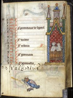 Calendar page from the month of May, with miniatures of a couple taking a bath and a bird holding a fish; from a book of hours (the 'Maastricht Hours'), the Netherlands (Liège), 1st quarter of the 14th century, Stowe MS 17, f. 7r.