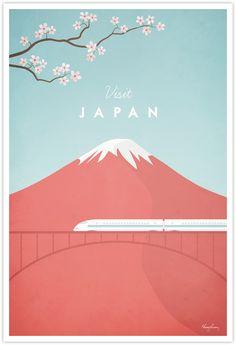 Japan Vintage Travel Poster by Henry Rivers- Japan Vintage Travel Art Print
