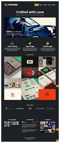 Twisted - Showcase Wordpress Theme by Pirenko (via Creattica) Coding Logo, Wordpress Premium, Mobile Web Design, Portfolio Web Design, Creative Thinking, Web Design Inspiration, Ui Design, Wordpress Theme, Mobile App