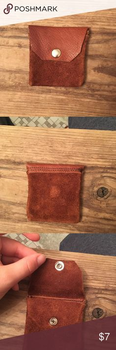 """Leather change purse Small leather change purse. Handmade. Beautiful cognac color. About 3"""" tall. #changepurse #leather #cognac #brown #snap #handmade #small Bags"""