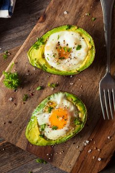 Homemade Organic Egg Baked in Avocado - Homemade Organic Egg Baked in Avocado with Salt and Pepper