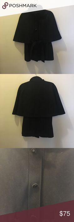 Betsy Johnson Coat Black wool Betsy Johnson Cape Coat. This is such a classy Coat and has hardly been worn. Leopard print lining. All buttons and snaps are intact. Size 8 Betsey Johnson Jackets & Coats
