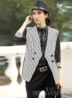 US$31.99 Fabulous Slim Three Quarter Sleeves Striped Blazer. #Blazers #Striped #Quarter #Three