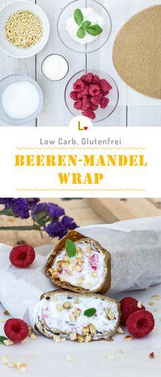 Beerenstark! Mit dem Beeren Mandel Wrap Rezept  aus Magerquark, Naturjoghurt und leckeren Himbeeren versüßt du dir den Tag und bleibst dabei gesund. Low Carb und Glutenfrei ist er auch noch. Für weitere Inspirationen und Ideen besucht unsere Seite: https://lizza.de/pages/rezepte