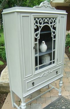 Painted Antique Vintage China Cabinet Hutch Annie Sloan Chalk Paint Custom Gray Colour Annie Sloan Clear Wax Niagara on Etsy, $457.26