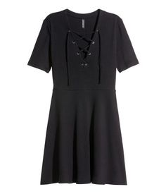H&M Ribbed Dress w/ Lacing $25 : Short dress in ribbed cotton jersey. Low-cut V-neck and lacing at front, short sleeves, seam at waist, and circle skirt. Unlined.
