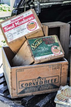 Vintage orange crates with labels - When a junker's junker brother has a garage sale, via http://www.funkyjunkinteriors.net/