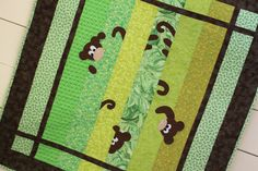 Baby Quilt Green and Brown with Monkeys on Etsy, $120.00