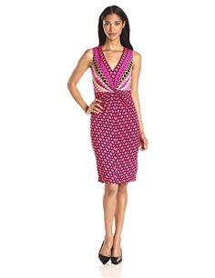 Women's Donna Morgan Mixed Print Twist Front Jersey Sheath Dress, Size 8 - Red