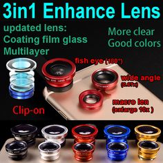 external enhanced  3in1 camera lens for iphone 6 7 samsung huawei macro fish eye lens wide angle macro mobile phone clip-on