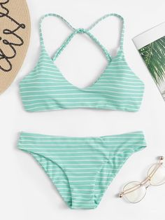 49795a6d7 Shop Striped Cross Back Bikini Set online. SHEIN offers Striped Cross Back  Bikini Set & more to fit your fashionable needs.