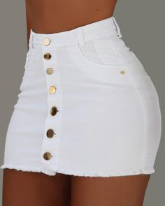 OFF Jeans Skirts Buttons High-Waist Mini Fashion Women Summer Strench All-Matching Denim Teenage Outfits, Teen Fashion Outfits, Swag Outfits, Cute Casual Outfits, Stylish Outfits, Girl Outfits, Fashion Skirts, Casual Dresses, Short Sexy