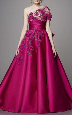 One Shoulder Ball Gown by Marchesa | Moda Operandi