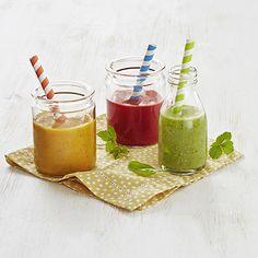 Alkaako päiväsi smoothiella? Kokeile täyttävämpää versiota lisäämällä mukaan Fazer Real -täysjyväruisleipää. Näin saat kuitua helposti ja huomaamattomasti. Valitse vain päiväsi väri ja surauta nopeasti smoothie valmiiksi.