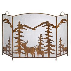 Mountain Wilderness 3 Panel Wrought Iron Fireplace Screen
