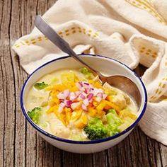 Broccoli Cheddar Chicken Chowder Recipe.