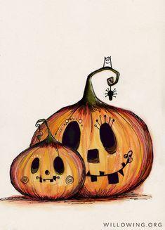 Awww momma and bubba pumpkins halloweenart pumpkinart willowing willowingarts tamfb mixedmedia illustration drawing cutecutecute 33777065935521757 Retro Halloween, Halloween Doodle, Fröhliches Halloween, Adornos Halloween, Halloween Painting, Halloween Images, Halloween Disfraces, Halloween Pumpkins, Halloween Decorations