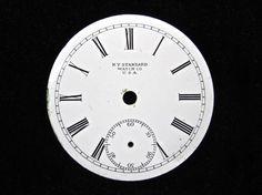 Antique Enamel Pocket Watch Face by N.Y. Standard Watch Co.  SOLD