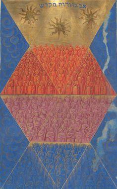 """Genève, Bibliothèque de Genève, Ms. fr. 167, f. 105v (""""the angelic world according to the Hebrews""""). Jehan Thenaud, Introduction à la Cabale, dédiée au roi François Ier. 1536."""