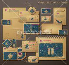 Корпоративный дизайн Рождество с символами Рождества — Стоковое векторное изображение © blinkblink #7812098