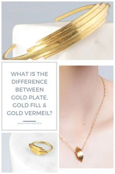 If you've ever wondered what the difference between gold plated, gold vermeil, gold filled, or solid gold jewellery then read this. Solid Gold Jewelry, Gold Jewellery, Minimal Jewelry, Arrow Necklace, Island, Silver, Stuff To Buy, Gold Jewelry, Islands