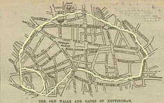 Late map showing boundary of origanal medieval wall. Nottingham Caves, Nottingham Map, Medieval Life, Family History, Old Photos, Growing Up, Vintage World Maps, Black Hood, City Council