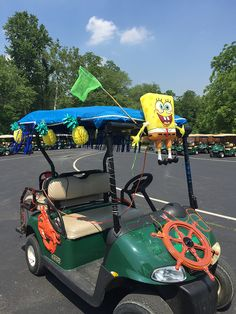 Spongebob themed golf car decorations at Lake Rudolph Campground & RV Resort.