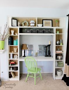 Built-In IKEA Bookcase Desk Nook Hack | Domestically Speaking @ Remodelaholic | DIY Office Idea