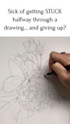 Basic Art Techniques, Drawing Techniques, Pencil Art Drawings, Art Drawings Sketches, Drawing Art, Flower Drawing Tutorials, Art Tutorials, Composition Drawing, Deviantart Drawings